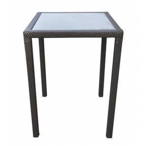 Kate Outdoor Patio Wicker Bar Table Black Glass
