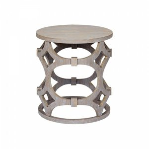 Rose Round End Table Gray