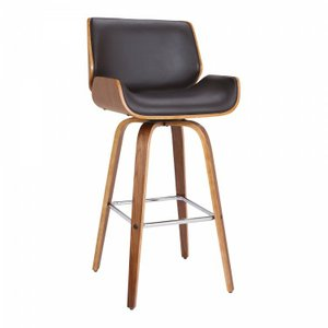 "Karl 30"" Mid-Century Swivel Bar Height Barstool Brown"
