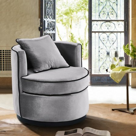 Lisa Contemporary Swivel Chair Gray Velvet