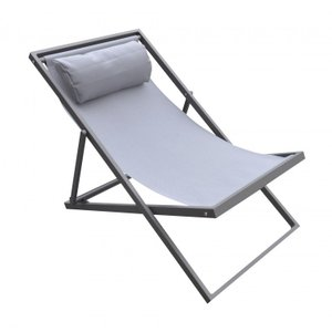 Ursa Major Outdoor Patio Aluminum Deck Chair Gray