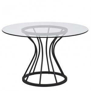 Cristobal Round Dining Table Black Glass