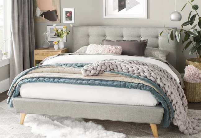 Margen Upholstered Platform King Bed Gray