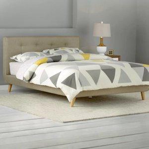Margen Upholstered Platform King Bed Beige