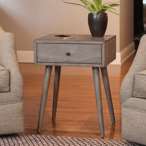 Aberdeen End Table With Storage Restoration Gray