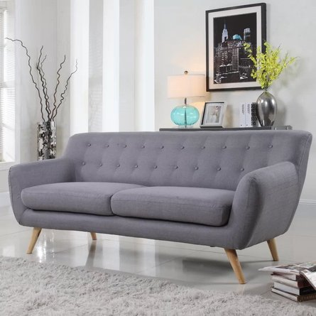Paral Mid-Century Sofa Light Gray