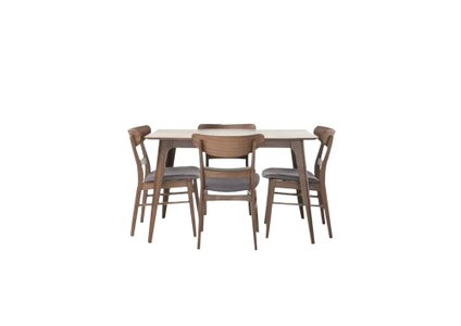 Yolanda Dining Set For 4 Natural Walnut