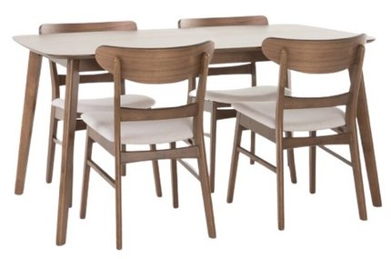 Cape Dining Set For 4 Walnut & Beige