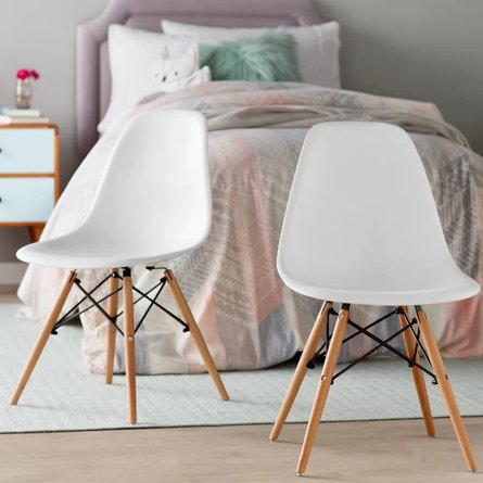 Jacksway Dining Chair White Natural (Set Of 2)