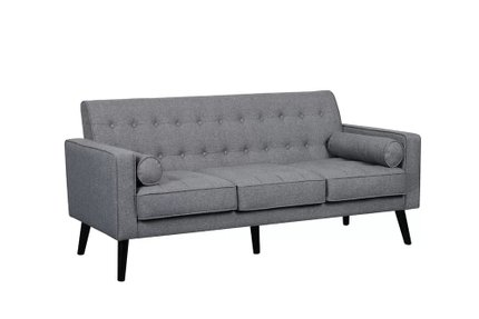 Nelsum Mid Century Tufted Sofa Light Gray