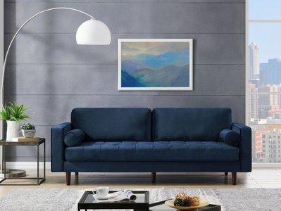 "Inga 72"" Apartment Sofa With Velvet Blue"