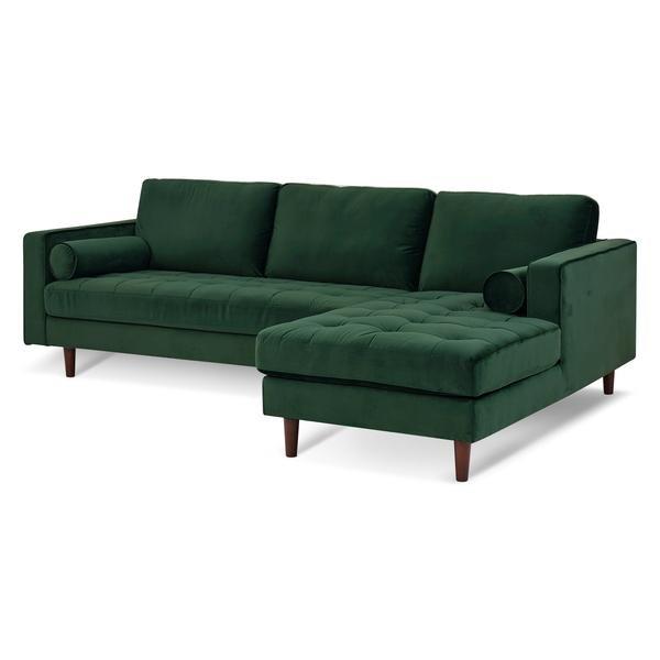 Inga Right Sectional Sofa Velvet Hunter Green