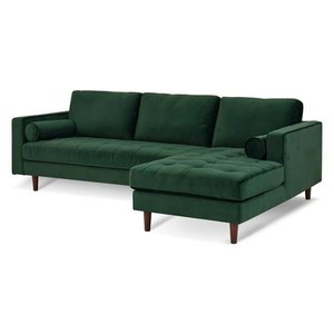 Inga Right Sectional Sofa Velvet Hunter Green