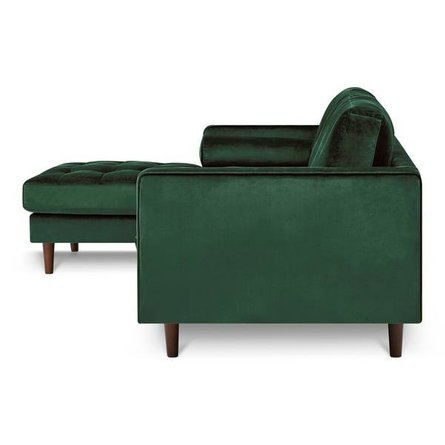 Inga Left Sectional Velvet Hunter Green