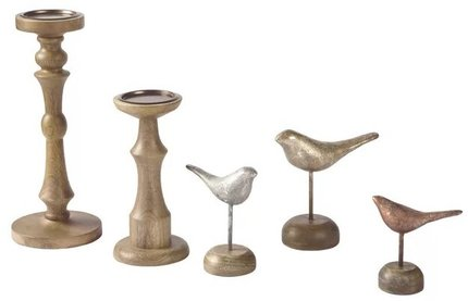 Wood And Metal Decorative Accessory Beige (Set of 5)