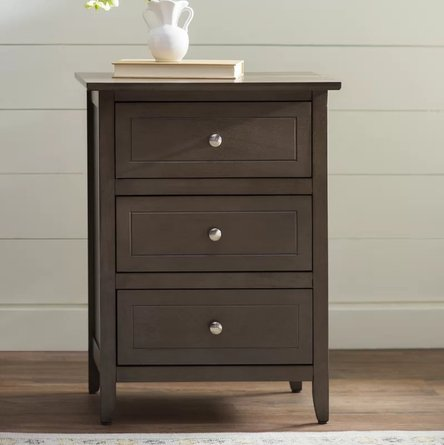 Arlen 3 Drawer Nightstand Gray