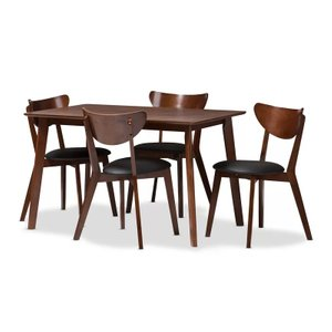 Alkes Dining Set For 4 Walnut Brown