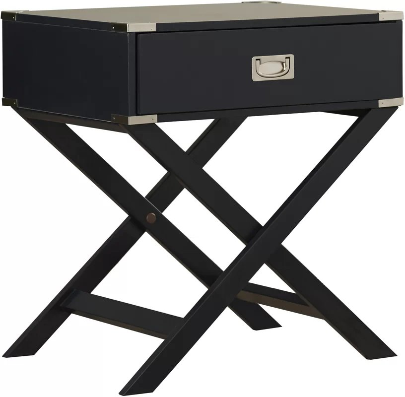 Madge 1 Drawer End Table Valcun Black