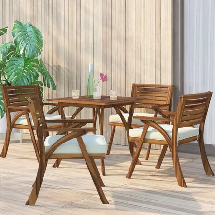 Ajax Dining Set For 4 Teak And Cream