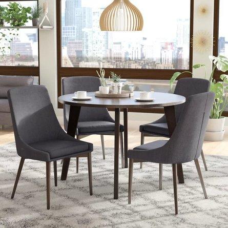 Blaisdell Dining Set For 4 Dark Gray