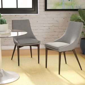 Cleland Upholstered Parsons Chair Gray (Set of 2)