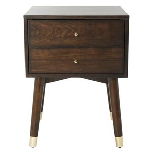 Kraemer 2 Drawer Nightstand Walnut And Gold