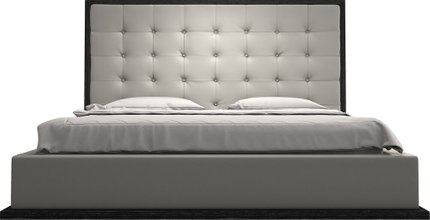 Ludlow King Bed Pearl Gray Eco Leather
