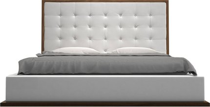 Ludlow King Bed White Eco Leather And Walnut