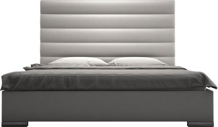Prince King Bed Pearl Gray Eco Leather