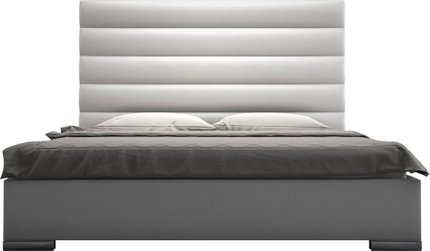 Prince King Bed White Eco Leather