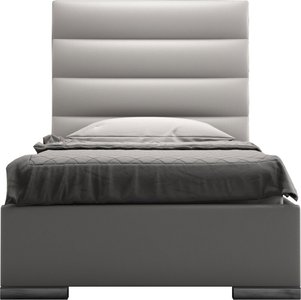 Prince Twin Bed Pearl Gray Eco Leather