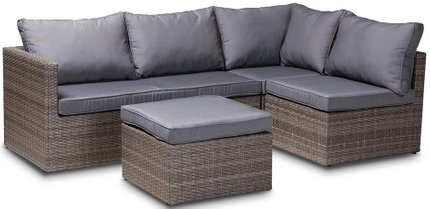 Pamela Modern And Contemporary Outdoor Patio Set Gray And Brown