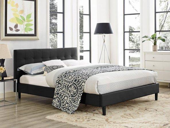 Linnea Queen Vinyl Bed Black