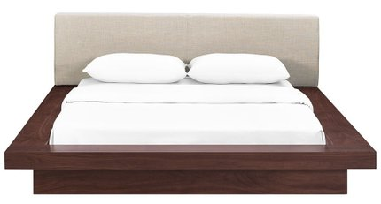 Freja Queen Fabric Platform Bed Walnut And Beige
