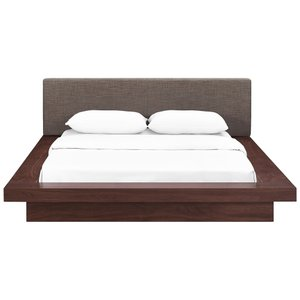 Freja Queen Fabric Platform Bed Walnut And Brown