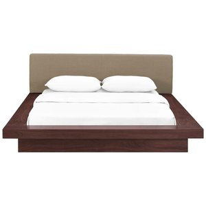 Freja Queen Fabric Platform Bed Walnut And Latte