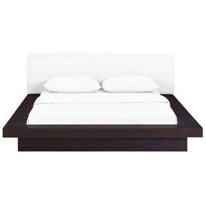 Freja Queen Vinyl Platform Bed Cappuccino And White