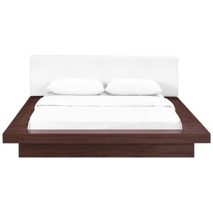 Freja Queen Vinyl Platform Bed Walnut And White