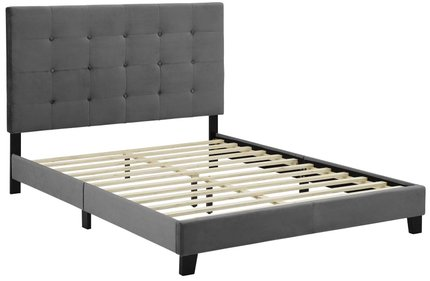 Melanie Tufted Button Upholstered Platform King Bed Gray