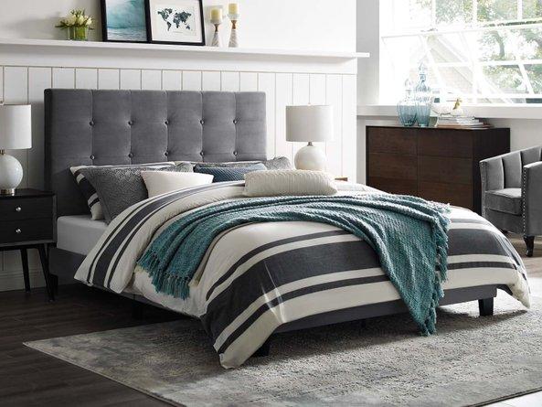 Melanie Tufted Button Upholstered Platform King Bed Gray
