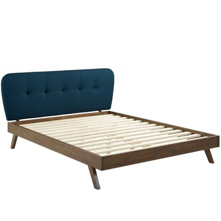 Gianna Upholstered Platform Queen Bed Blue