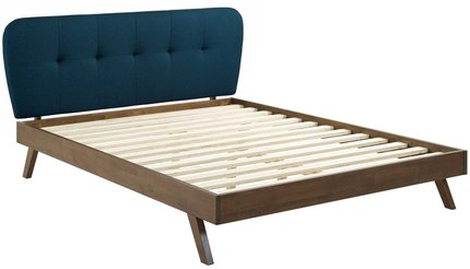 Gianna Upholstered Platform Queen Bed Blue