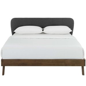 Gianna Queen Upholstered Platform Bed Gray