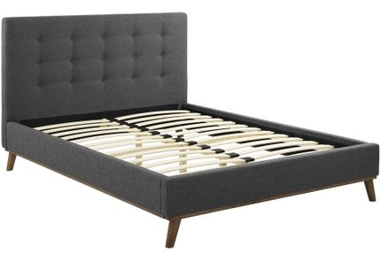 McKenzie Biscuit Tufted Queen Bed Dark Gray