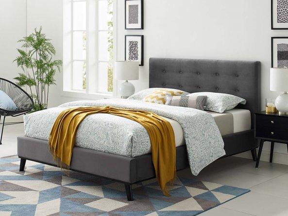 McKenzie Velvet Queen Bed Gray