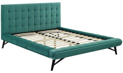 Julia Biscuit Tufted Queen Bed Teal