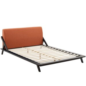 Luella Queen Upholstered Fabric Platform Bed Cappuccino And Orange