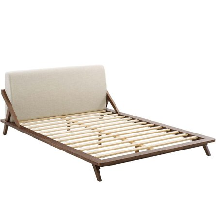 Luella Queen Upholstered Fabric Platform Bed Walnut And Beige
