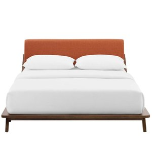 Luella Queen Upholstered Fabric Platform Bed Walnut And Orange