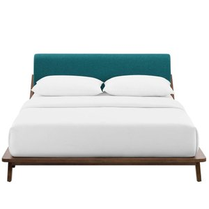 Luella Upholstered Fabric Platform Queen Bed Walnut And Teal